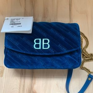 BB Balenciaga round embroidered quilted velvet bag